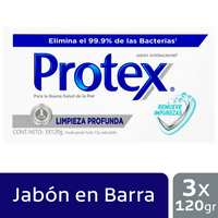 OFERTA JABON PROTEX LIMPIEZA PROFUNDA X 3UND X 120G
